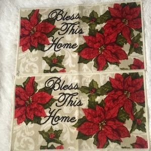Bless this Home Holiday Floor Mat Set (2) NWOT